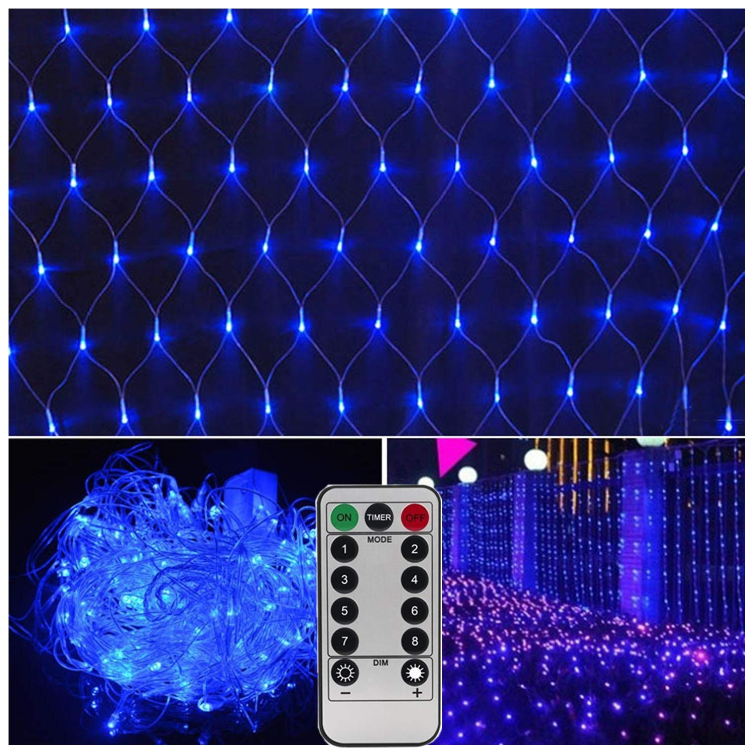 Need 3 X Type D Batteries DealBeta Not Included Battery Operated Warm White 300 LEDs Remote Window Curtain Lights,9 Mode String Lights Ideal for Outdoor Wedding,Christmas,Party,Bedroom,Bar,RV,Mall Decor-