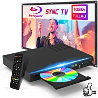 Blu-Ray DVD Player Native 1080P HD Disc Player with HDMI AV Cables Remote Control, Upgrade CD DVD Player for TV, Built-in PAL NTSC System, Coaxial Jack USB Input (Blu-Ray Region 1, New)