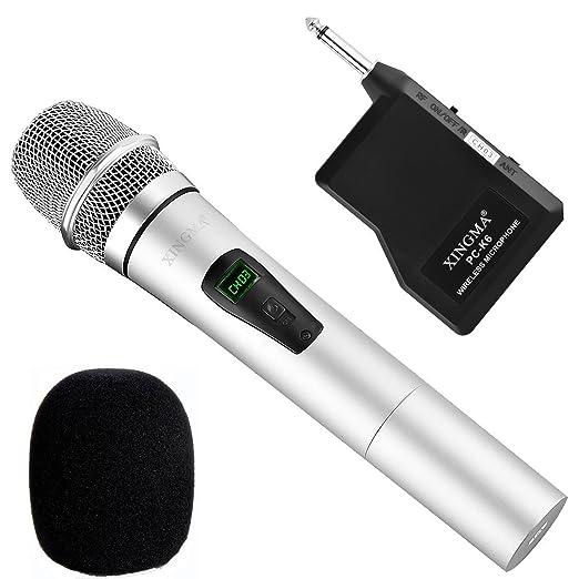 3 opinioni per Microfono senza fili, microfoni cordless dinamici a pile portatili ricaricabili