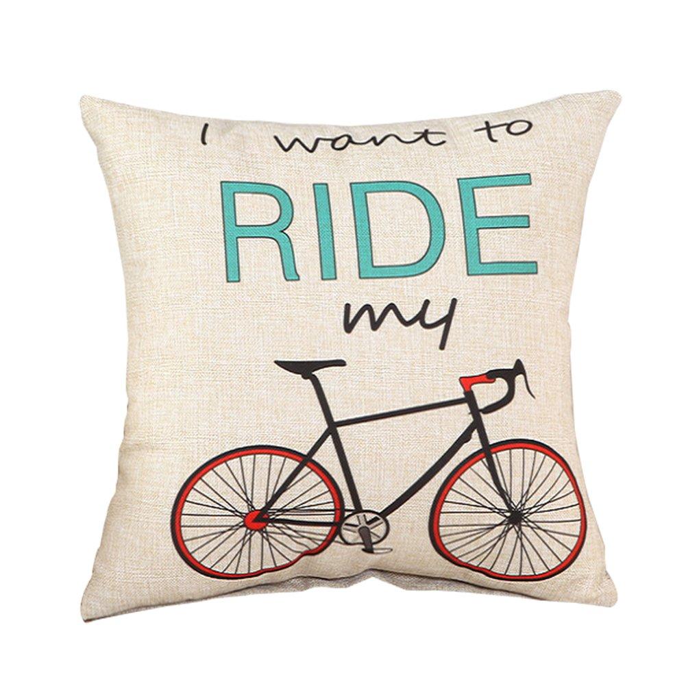 Ruikey Fashion Pillow case creative in cotone e lino cute i want to Ride My Bike cuscino divano letto Home decorazione 45*45/cm Blue