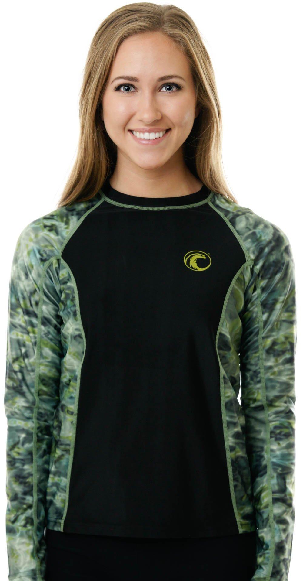 Aqua Design Womens Long Sleeve Big Wave UPF 50+ Sun Protection Rash Guard Shirt , Black/Green , Large