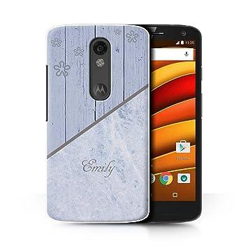 Personalizado Mármol/Madera Personalizar Funda para el Motorola Droid Turbo 2 / Azul Apenado Diseño / Inicial/Nombre/Texto Carcasa/Estuche/Case: Amazon.es: ...
