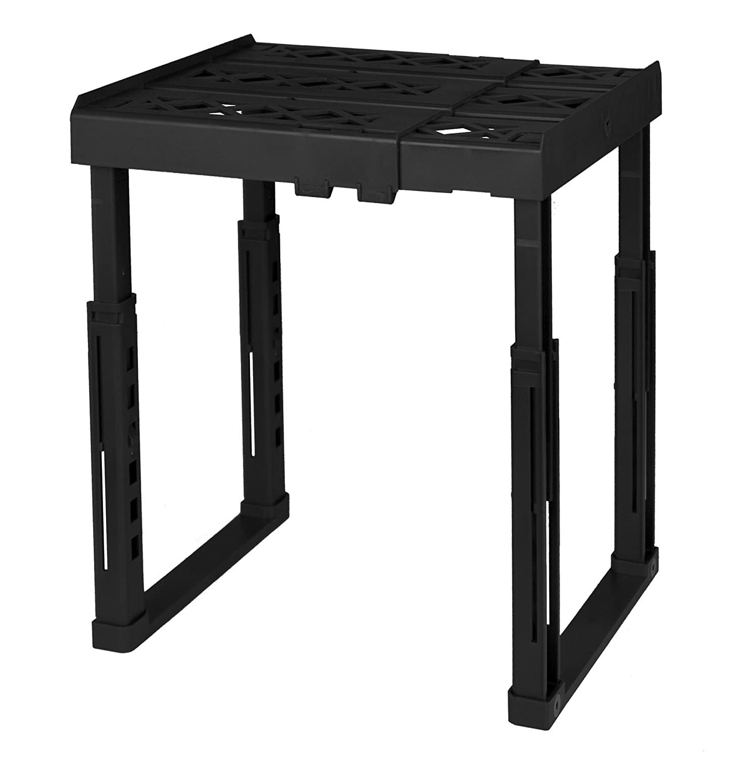 "Tools for School Locker Shelf. Adjustable Width 8"" - 12 1/2"" and Height 9 3/4"" - 14"". Stackable and Heavy Duty. Holds 40 lbs. per Shelf. (Single, Black)"