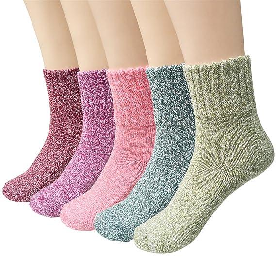 Calcetines de Lana Set para Mujer, 5 Pares Calcetines de Lana Invierno Cálido Súper Grueso