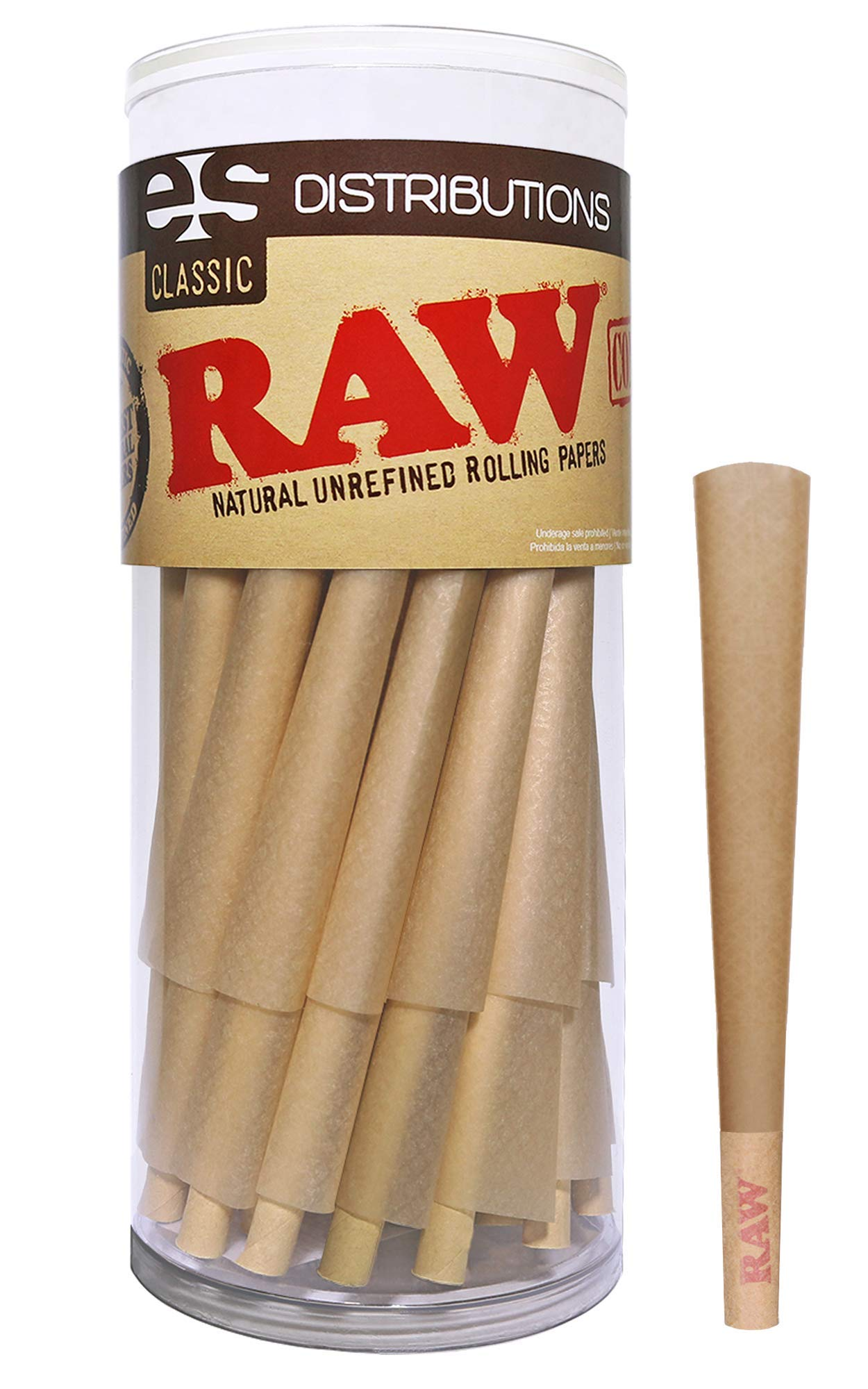RAW Cones Classic King Size | 50 Pack | Natural Pre Rolled Rolling Paper with Tips & Packing Sticks Included by RAW, ESD