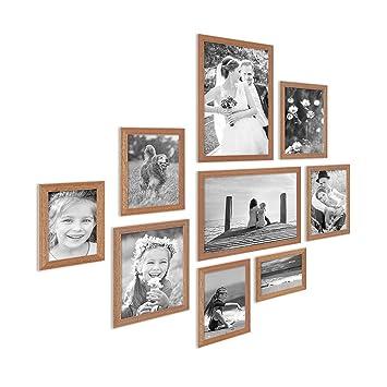 PHOTOLINI 9er Set Landhaus Bilderrahmen Eiche Optik Massivholz Rahmen Mit  Glasscheibe Und Zubehör