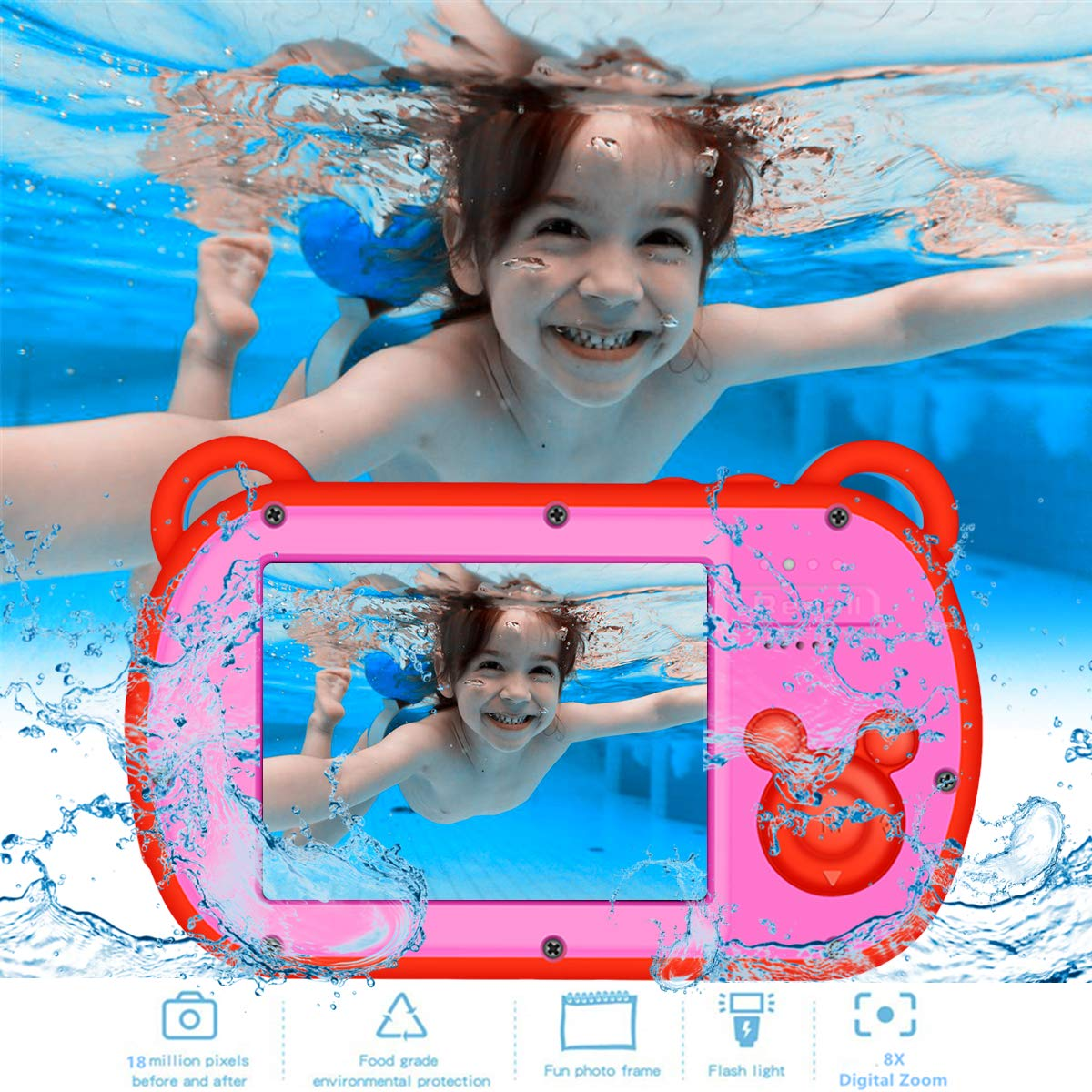 Underwater Kids Camera, HD I080P 8X Digital Zoom,2.7'' Screen Children's Camera with Flash,Preschool Camera Toys Waterproof Camera for kids by CamKing