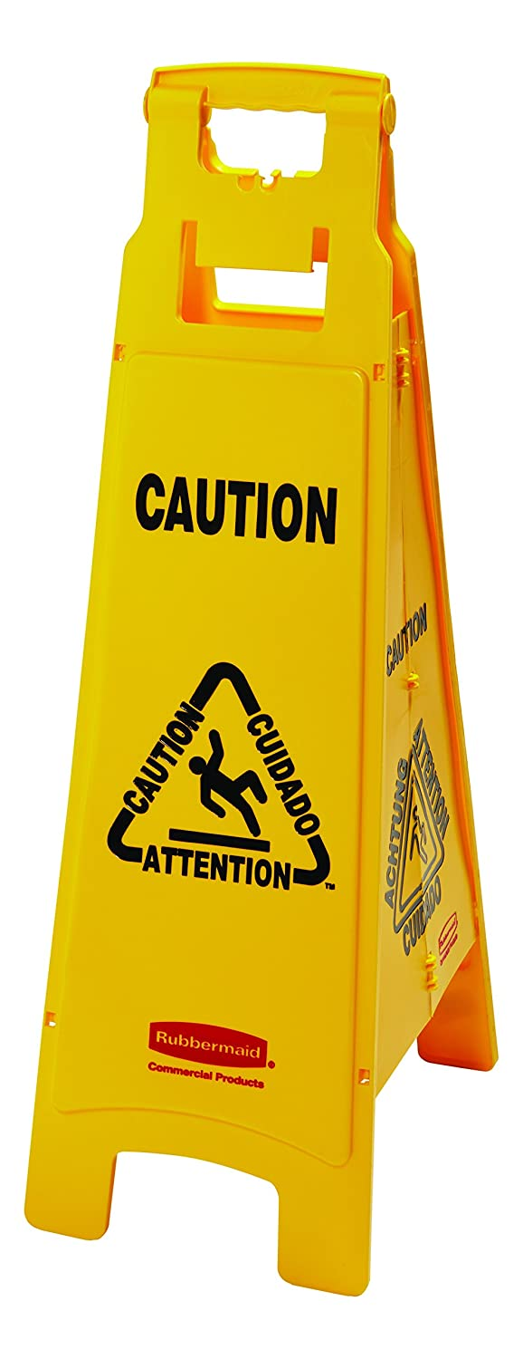 Rubbermaid Commercial 4 Sided Multilingual 'Caution' Floor Sign FG611400YEL