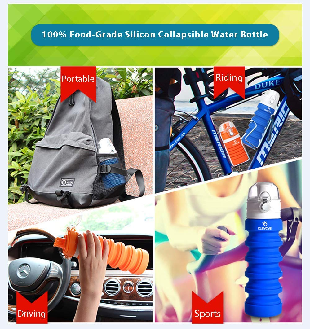 CLEYCYE Collapsible Water Bottle Silicone BPA Free/Lightweight/Eco-Friendly, Portable Travel Water Bottle for Kids/Adults, Sports Water Bottle Leakproof with Carabiner FDA Approved, Gray