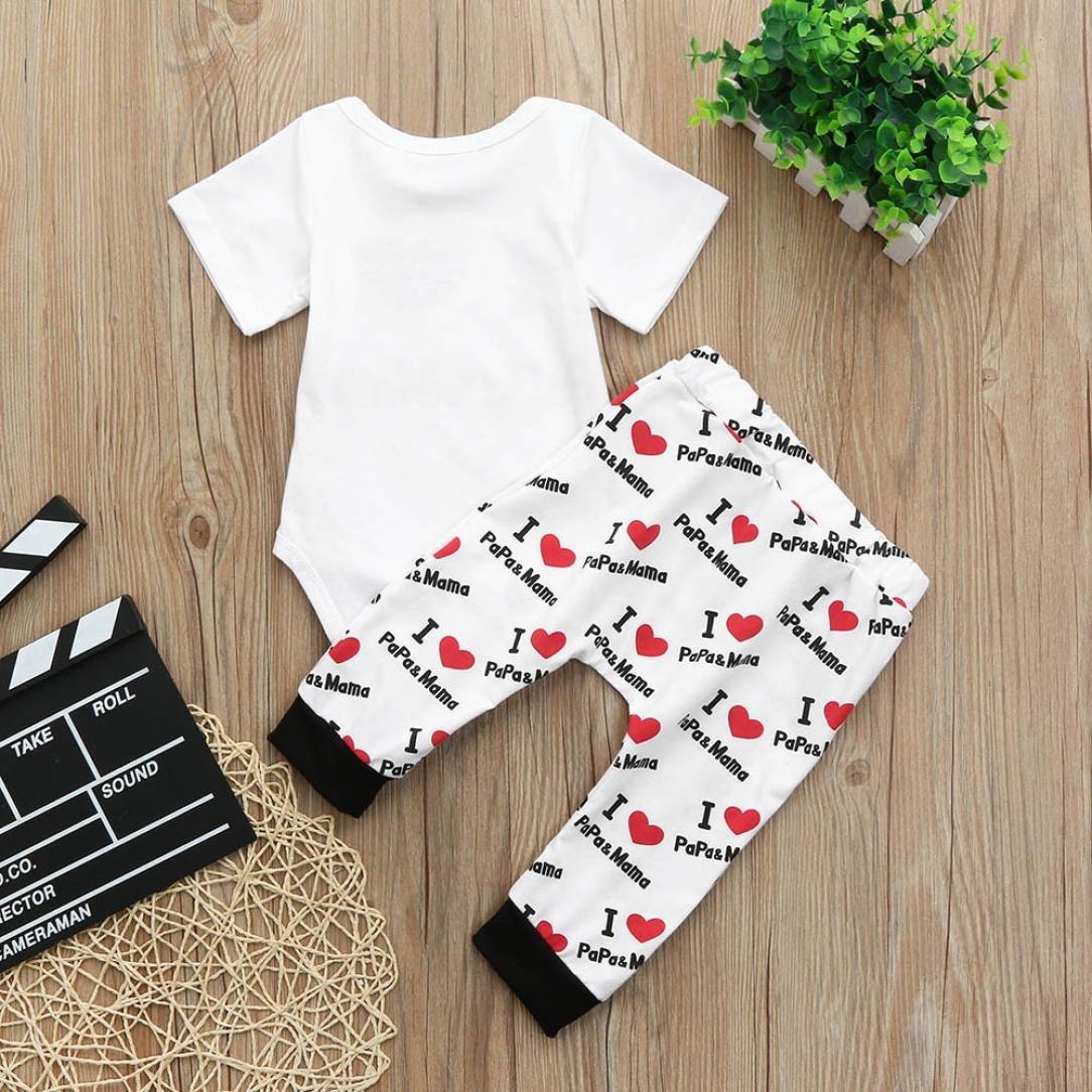 ASHOP Bebé Monos, Mono estampado I Love PaPa & MaMa recién nacido Mono Manga Corta Bodies Ropa Bebe niña Verano Moda Conjunto Bebé + Pantalones: Amazon.es: ...
