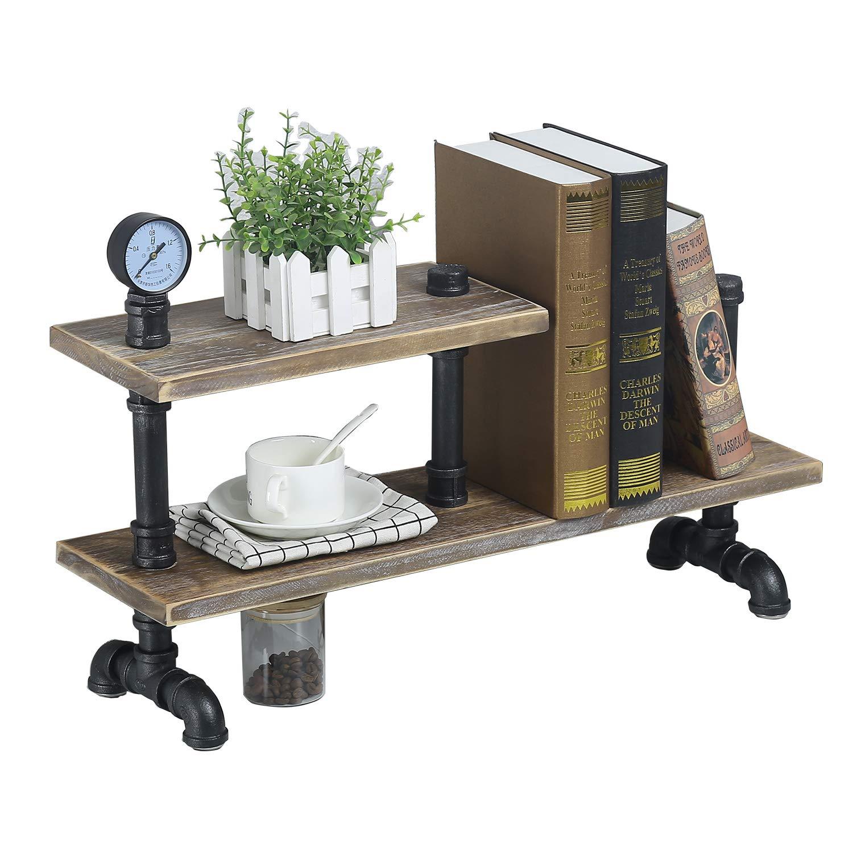 "MBQQ Industrial Pipe Wood Shelf Desk Organizer,24"" Office Organization and Storage Shelf,Countertop Bookcase,Desktop Display Shelves,Flower Stand,Kitchen Shelf"