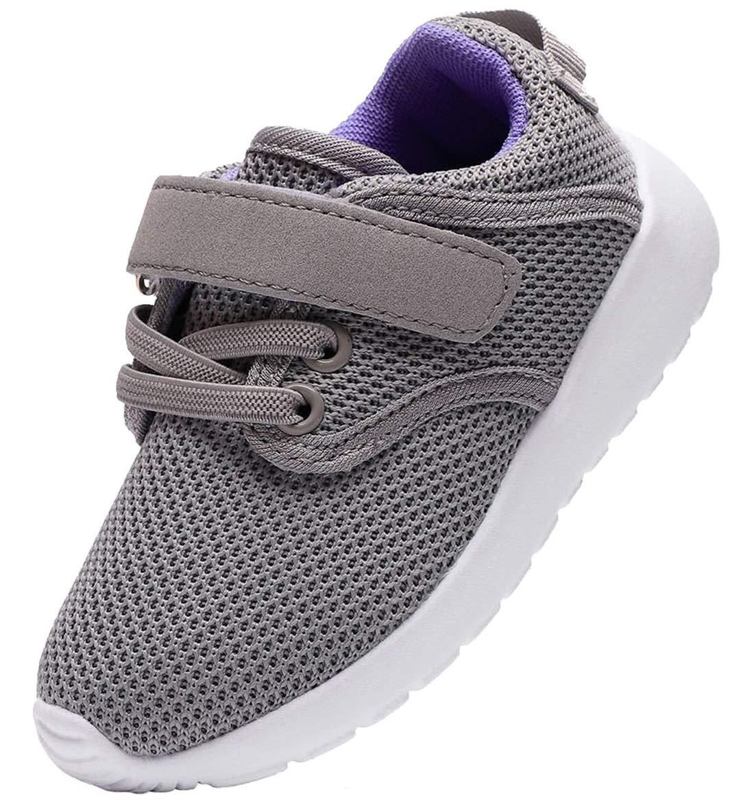 PPXID Boy's Girl's Breathable Mesh Hoop Loop Casual Sneaker Running Shoes-Gray 8.5 US Toddler