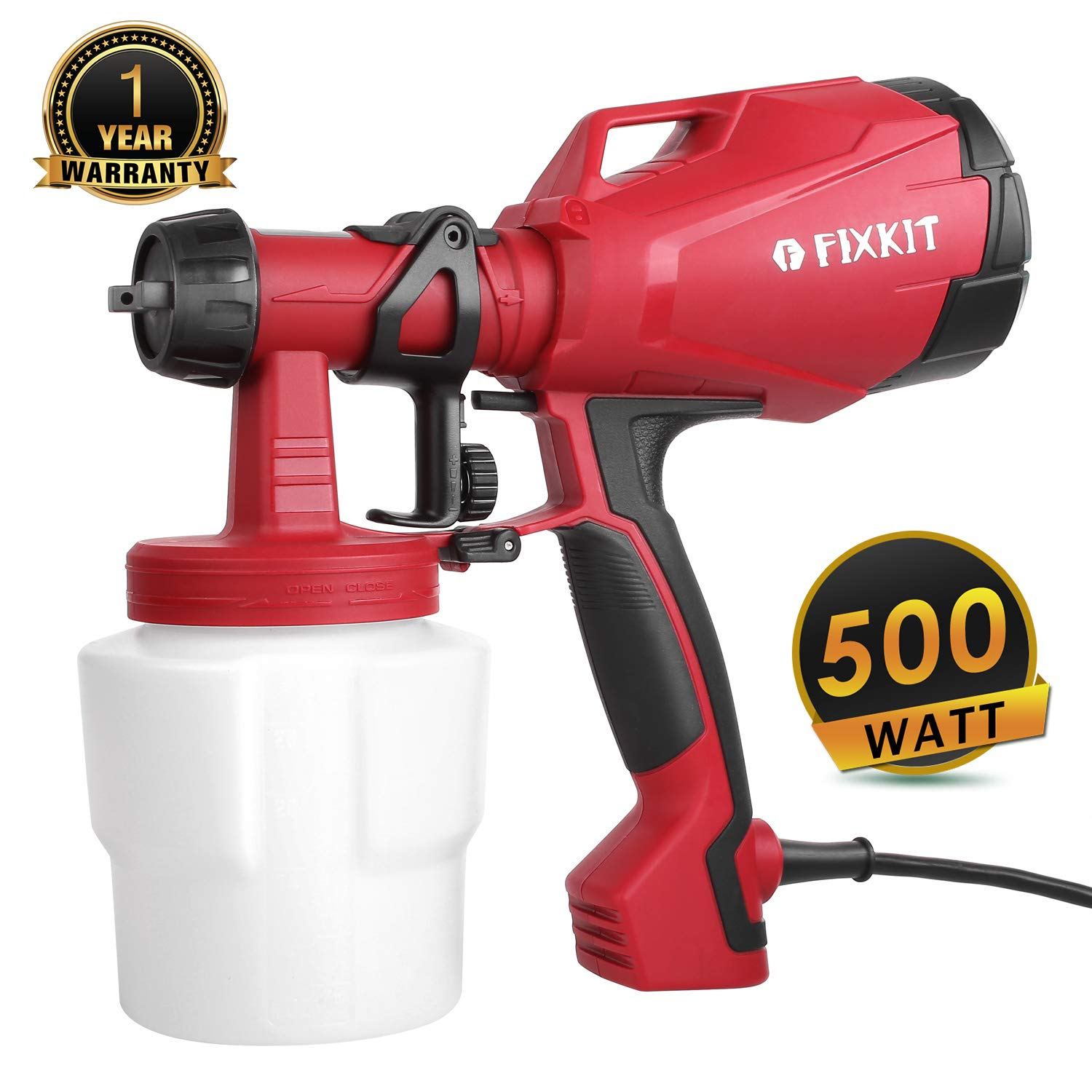 HVLP Paint Sprayer, 500 Watt High Power Electric Spray Gun with Three Spray Patterns, Professional Painting Tool with 1000ml Detachable Container for Home Spray Painting & Painting Projects by FIXKIT
