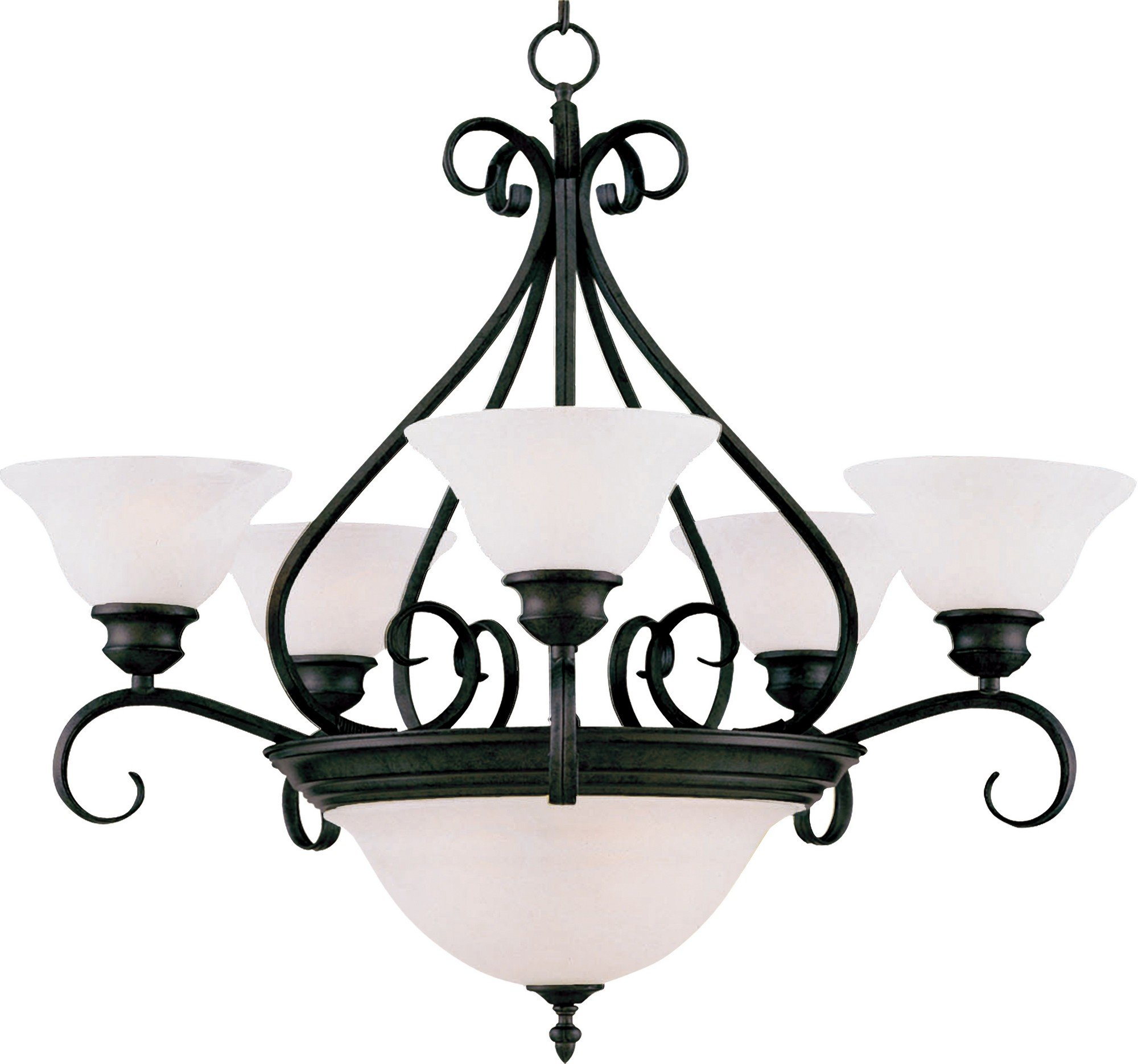 Maxim 2656MRKB Pacific 7-Light Chandelier, Kentucky Bronze Finish, Marble Glass, MB Incandescent Incandescent Bulb , 60W Max., Dry Safety Rating, Standard Dimmable, Opal Glass Shade Material, Rated Lumens
