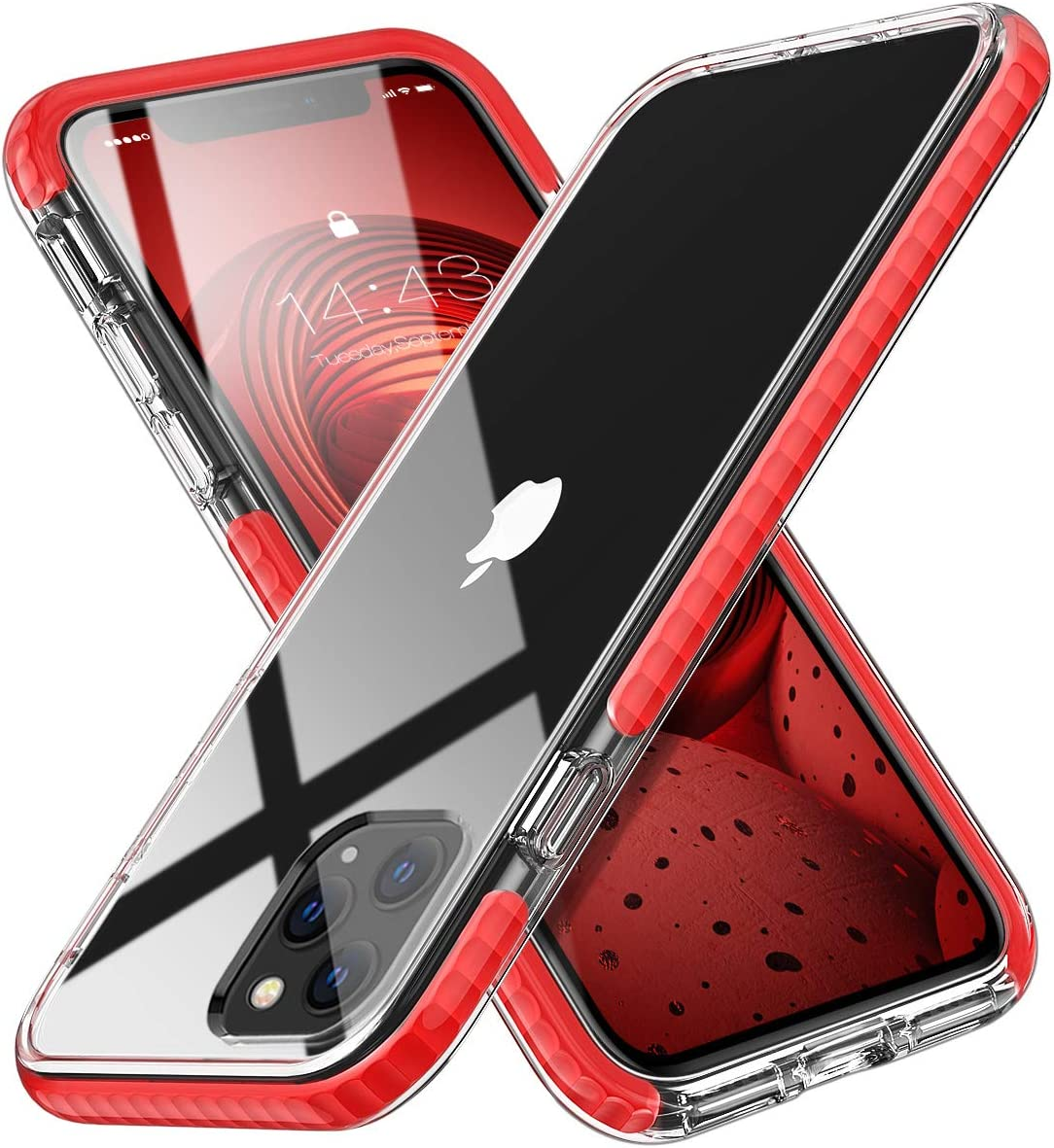 MATEPROX iPhone 11 Pro Max Case Clear Thin Slim Crystal Transparent Cover Shockproof Bumper Case for iPhone 11 Pro Max 6.5 inch(Red)