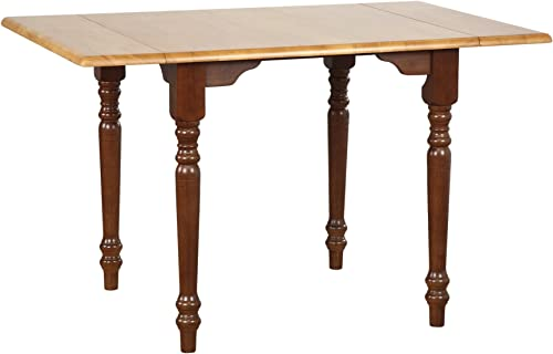Sunset Trading Oak Selections Dining Table, Medium Walnut with Light Finish top