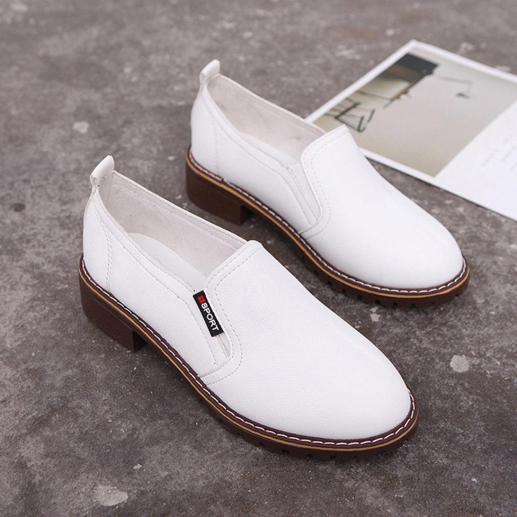 Womens Campus Oxford Leather Shoes Slip On Platform Shoes Short Boots Walking Sneakers