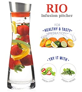 Grosche RIO Glass Water Pitcher and Drink Infuser 1000ml, 32 Oz.