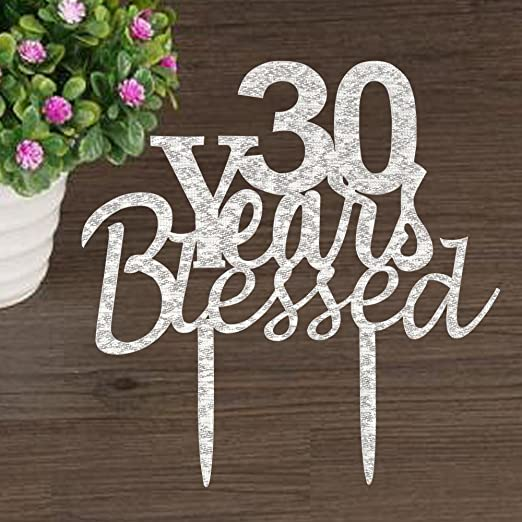 Amazon.com: Decoración para tarta de 30 años con bendición ...