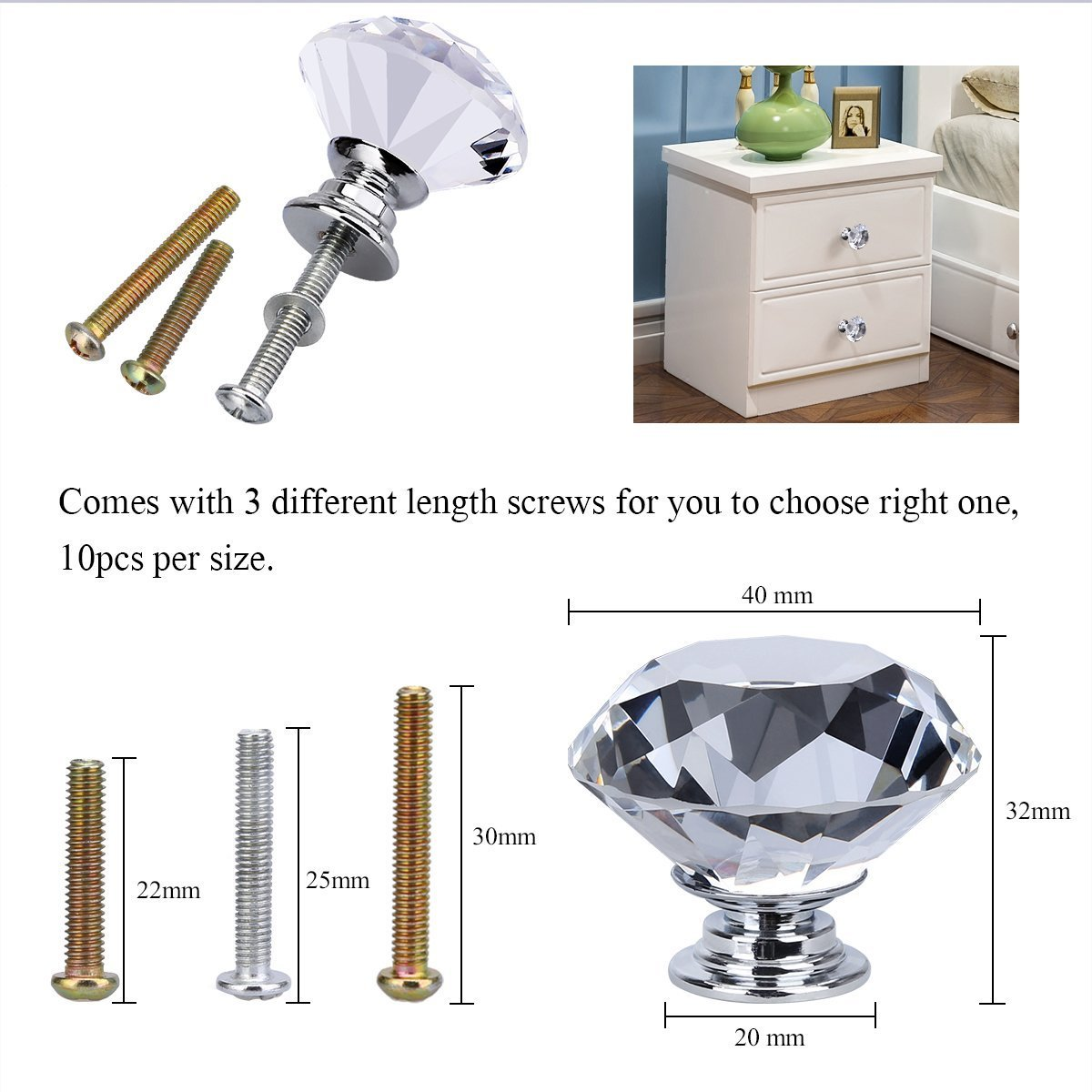 MELODIE DIRECT 10PCS 40MM Diamond Crystal Glass Cabinet Knobs Cupboard Drawer Pull Handle,3 Size Screws by MELODIE DIRECT (Image #3)
