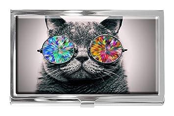 Tarjetero de Acero Inoxidable con diseño de Gato con Gafas ...