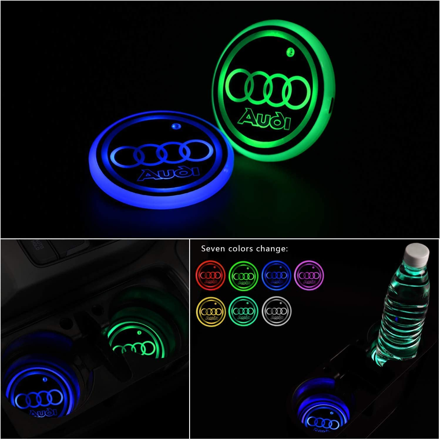 Upgraded Version LED Car Cup Holder Lights,LED Shiny Water Cup Mat Waterproof Bottle Drinks Coaster Built-in Light 7Colors Changing USB Charging Mat Cup Mat 2PCS Gabriel fit A-udi