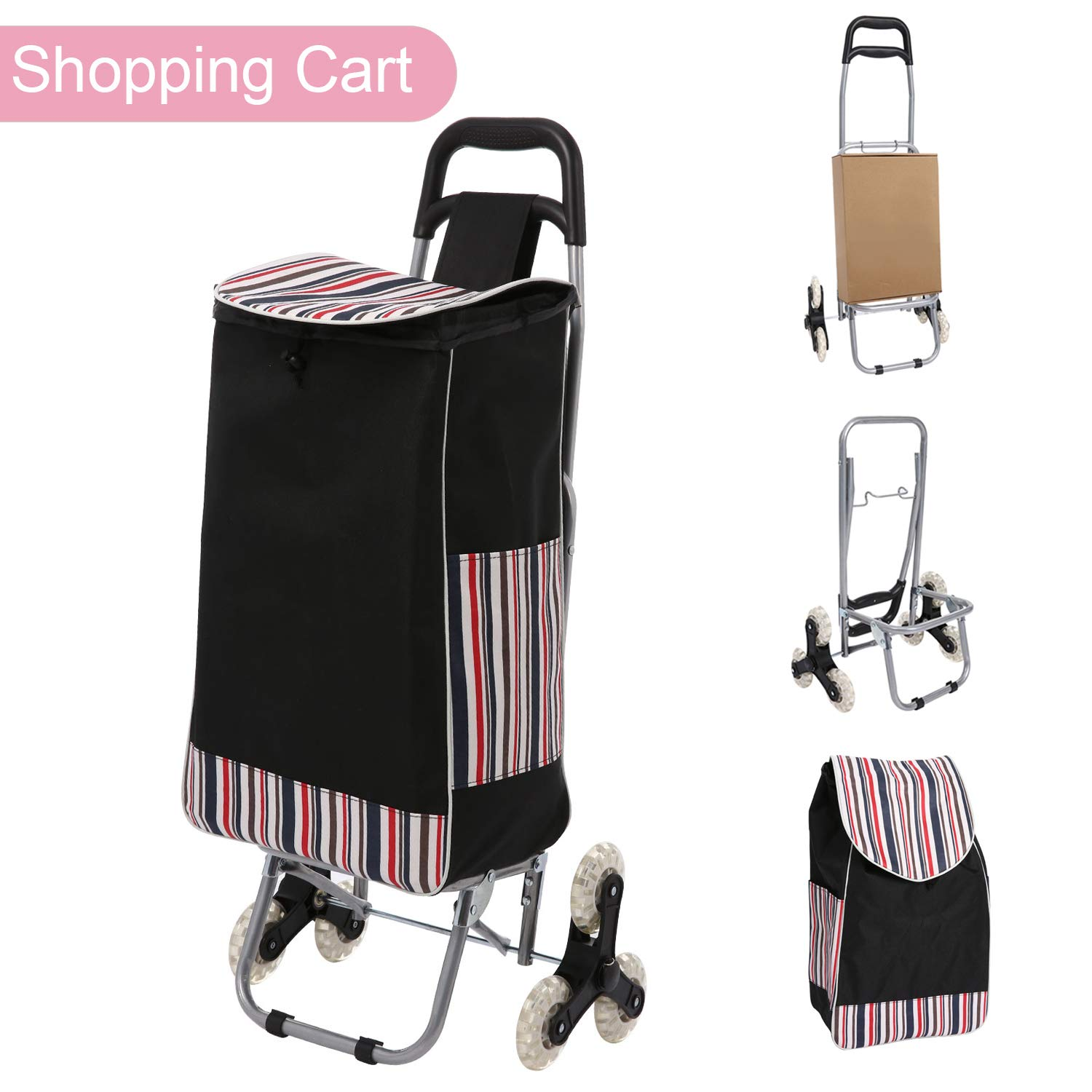 Folding Shopping Cart, Stair Climbing Cart Trolly Grocery Laundry Utility Cart with Wheel & Removable Waterproof Canvas Bag, 150lbs Capacity