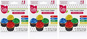 Cake Mate Gel Food Color - Classic Colors (Red, Blue, Green and Yellow), 3 Pack