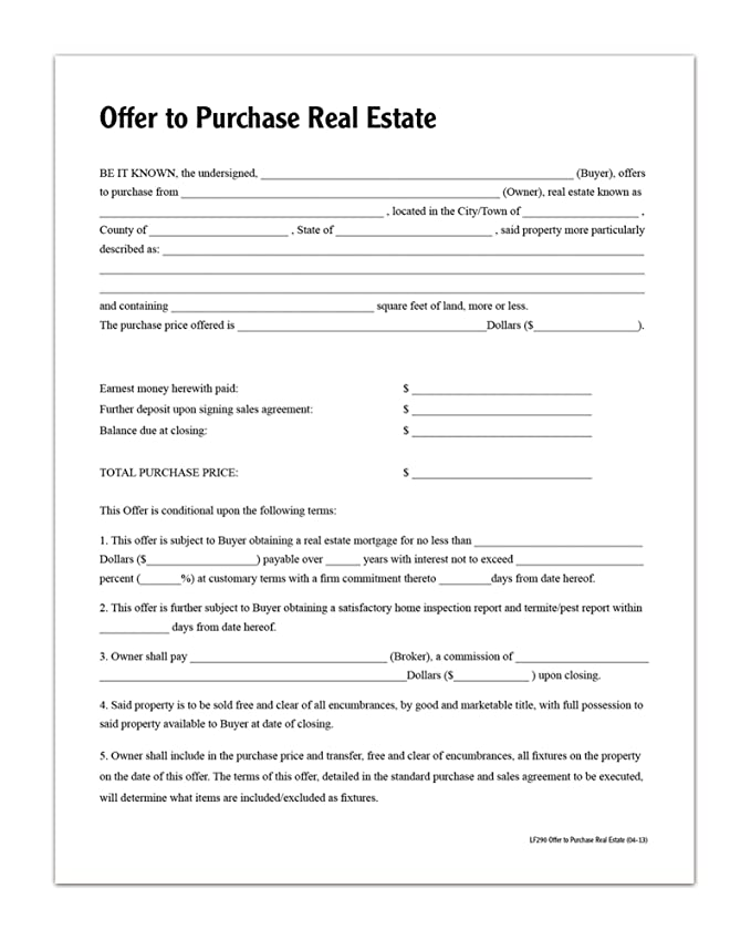 Amazon Adams Offer To Purchase Real Estate Forms And