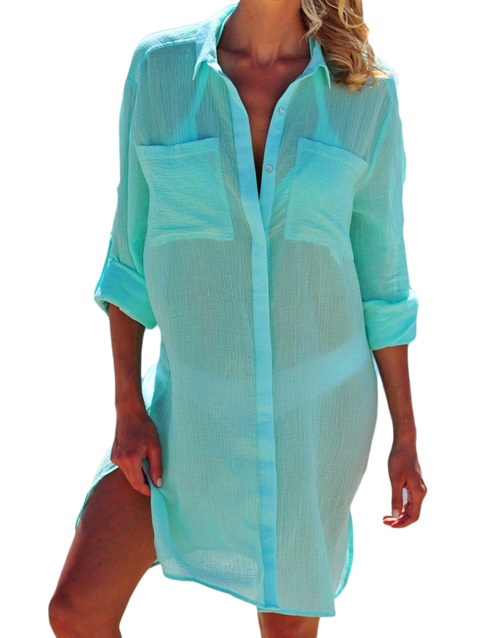7073a8f127e2b Bsubseach Women Embroidered Half/Long Sleeve Swimsuit Cover up Mini ...