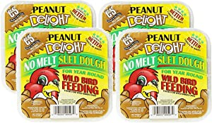 C&S 4 Pack of Peanut Delight Wild Bird No Melt Suet Dough, 11.75 Ounces Each