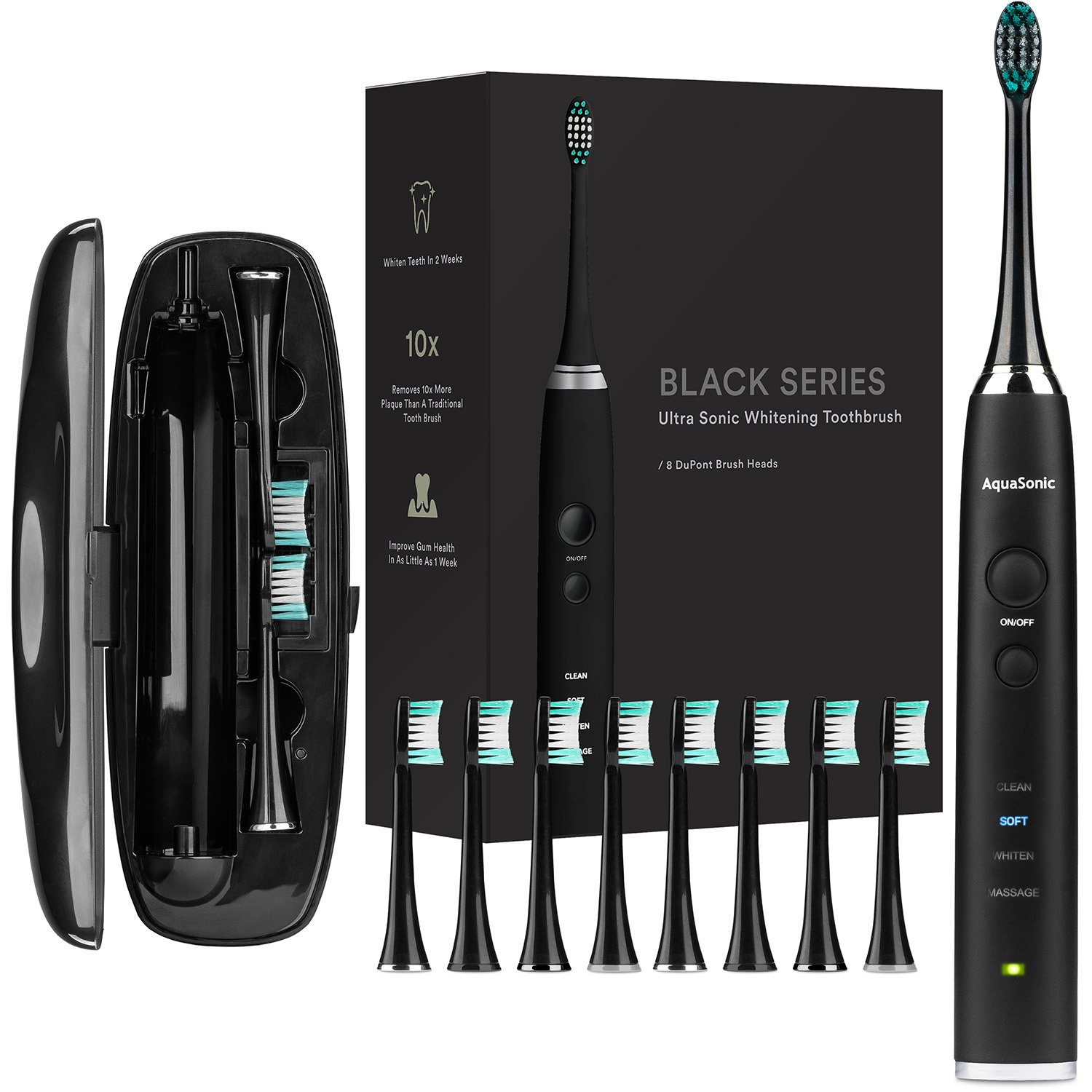 AquaSonic Black Series Ultra Whitening Toothbrush – 8 DuPont Brush Heads Travel Case Included – Ultra Sonic 40,000 VPM Motor Wireless Charging – 4 Modes w Smart Timer – Modern Electric Toothbrush