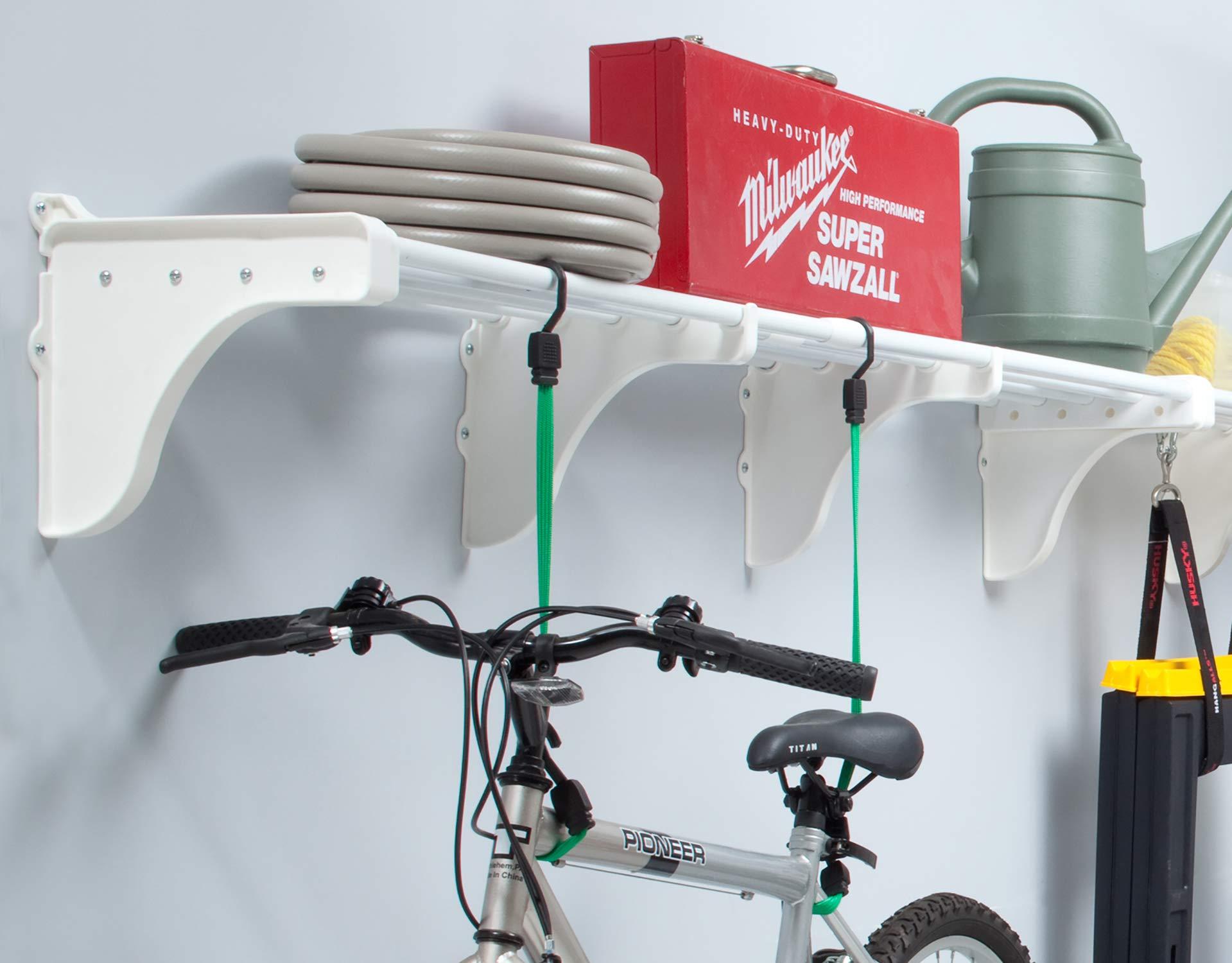 EZ Shelf - Expandable Garage Shelf, Up to 6.3 ft. of Storage Space, White