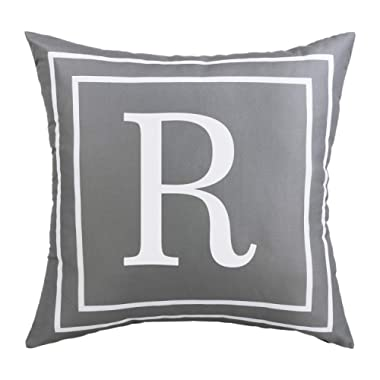 BLEUM CADE Gray Pillow Cover English Alphabet R Throw Pillow Case Modern Cushion Cover Square Pillowcase Decoration for Sofa Bed Chair Car