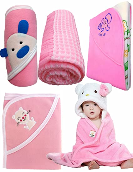 32e4ac922df4 BRANDONN Baby Boy s And Girl s Fleece Flannel 4 Hooded Blanket With ...
