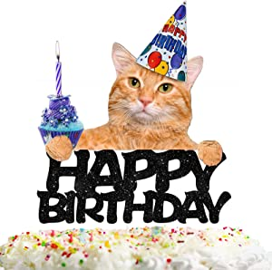 Cat Happy Birthday Cake Topper Decor Cat Birthday Theme Picks for Pet Party Decorations Supplies