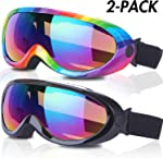 Ski Goggles, Pack of 2, Snowboard Goggles for Kids, Boys &