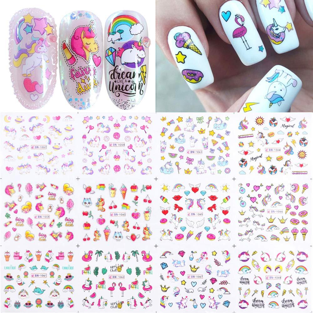 12 Sheets Unicorn Nail Art Stickers Cute Cartoon Water Transfer Nail Decals Unicorns Lollipops Stars Moons Cherries Flamingos Rainbows Design Nail Art Accessories Stickers for Women Girls Nails Decor