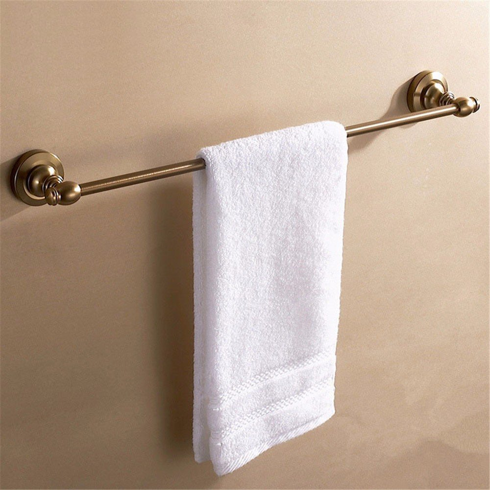 DIDIDD European Style Antique Copper Bath Aluminum Single Pole Towel Bar Bathroom Extension Shelf
