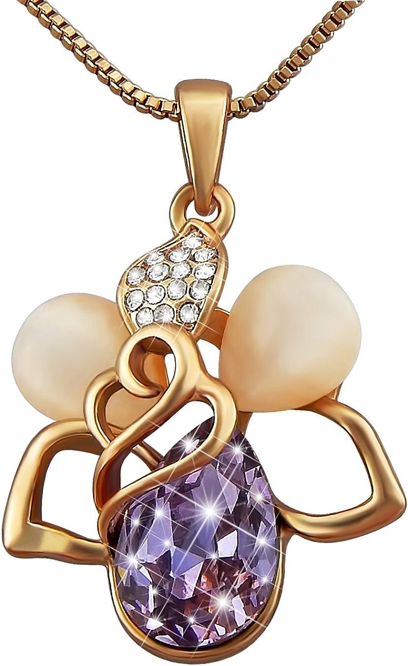 Veuer - Collar para Mujer con Colgante en Forma de Flor de Oro Rosa Chapado en Oro con ópalo y Piedras de Cristal en Piedras de estrás Lila, Mujeres y Novias