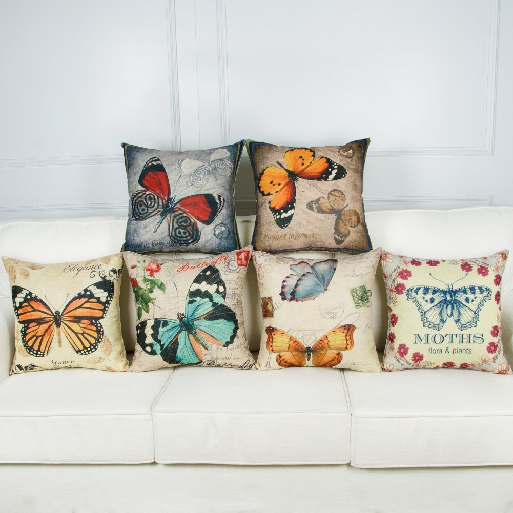 Top finel Hogar 6 Cojines mariposa patrón lino algodón fundas ...