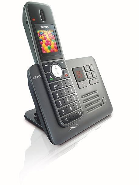 o2Philips SE7451B/02 - Teléfono inalámbrico DECT (con lector ...