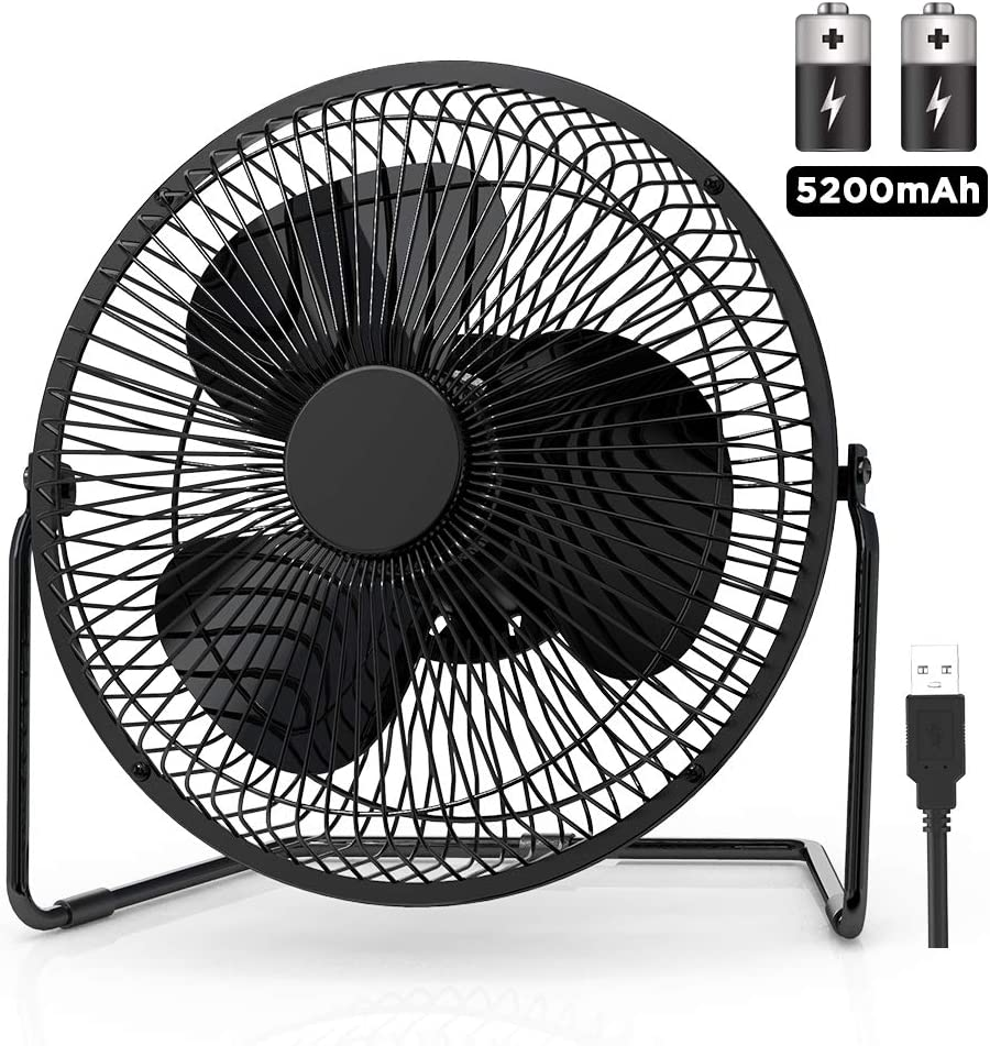 EasyAcc 9 Inch Battery Operated Desk Table Fan with Built-in Rechargeable 5200mAh Battery 16 Hours 4 Speeds Quiet Personal Portable Cooling Floor Fan 360 Rotation for Home Outdoors Camping Hurricane