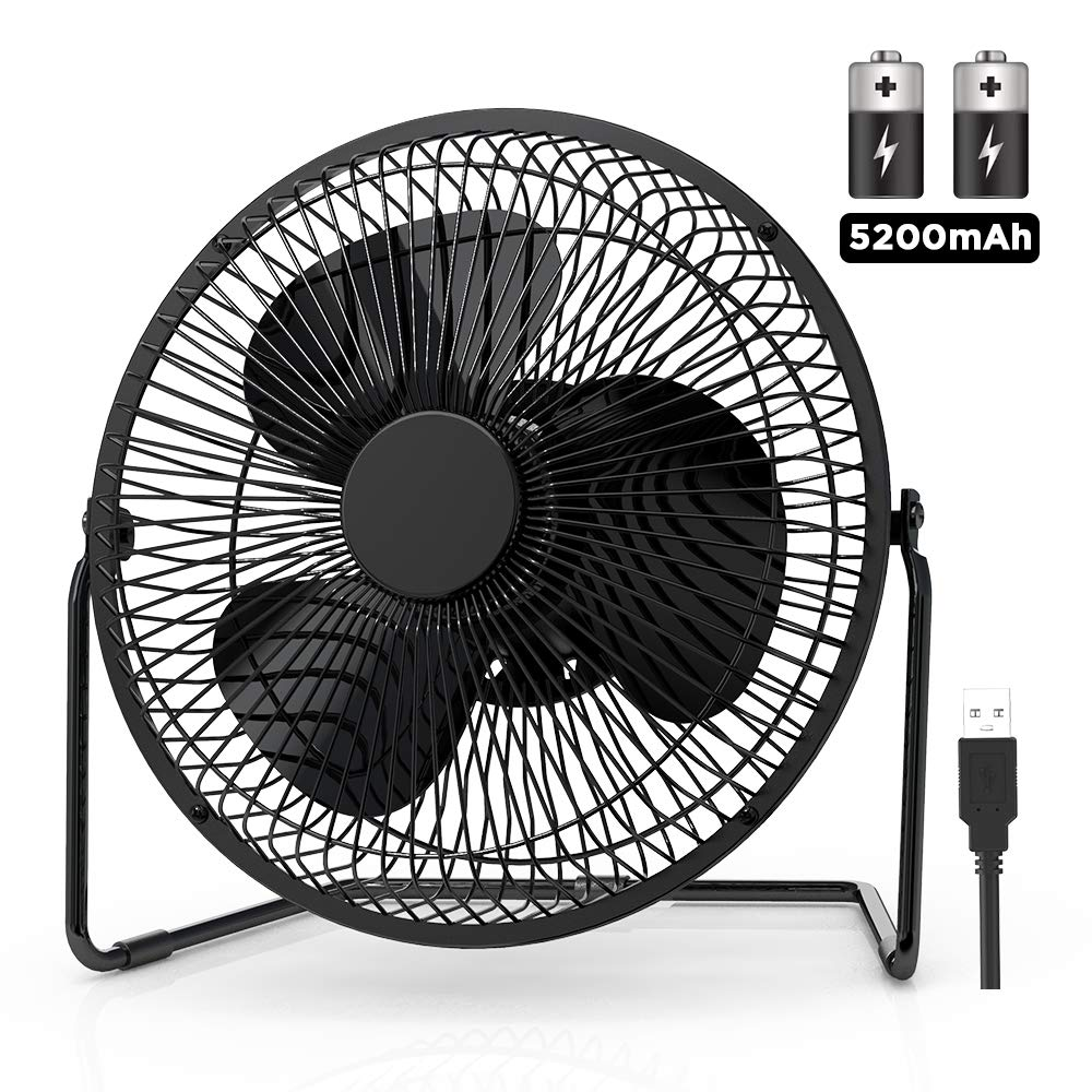 EasyAcc 9 Inch Battery Operated Desk Table Fan with Built-in Rechargeable 5200mAh Battery 16 Hours 4 Speeds Quiet Personal Portable Cooling Floor Fan 360° Rotation for Home Outdoors Camping Hurricane by EasyAcc