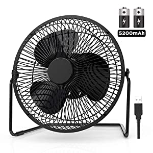 EasyAcc 9 Inch Battery Operated Desk Table Fan with Built-in Rechargeable 5200mAh Battery 16 Hours 4 Speeds Quiet Personal Portable Cooling Floor Fan 360° Rotation for Home Outdoors Camping Hurricane
