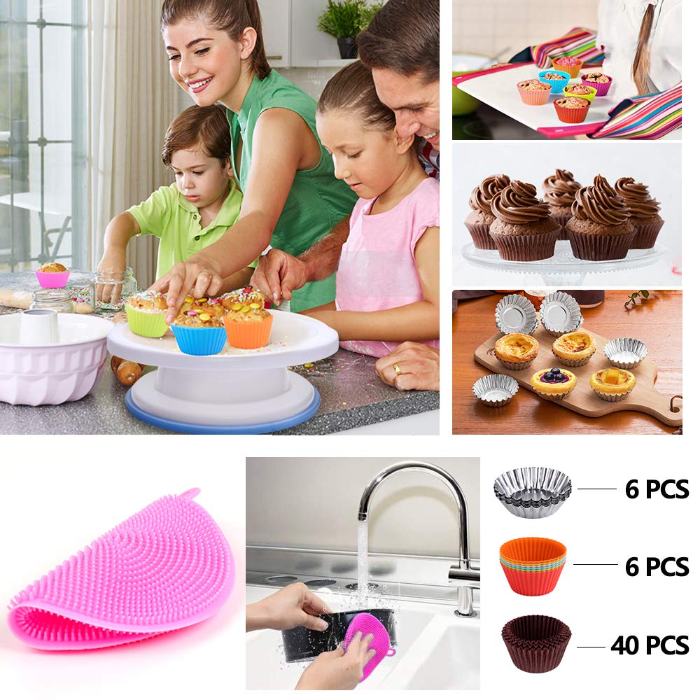 Cake Decorating Supplies,194 PCS Complete Baking Set with 4 Packs Springform Pan Sets,136 PCS Decorating Kits and 8 Silicone Cupcake Molds, Perfect Cake Baking Supplies for Beginners and Cake Lovers. by KOSBON (Image #6)