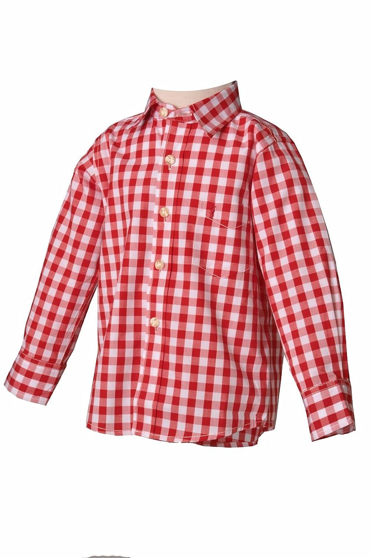 Kinder Trachtenhemd Leonhard rot langarm Almsach
