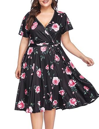 1a618441de PARTY LADY Women s V-Neckline Stretchy Casual Midi Floral Dress Plus ...