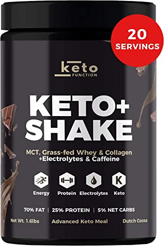 Dutch Chocolate Keto Shake – Low Carb High Fat Keto Meal Replacement Shake – MCT Oil Powder – Grass-Fed Whey – Collagen Protein – Tastes Great Mixes Easily – Keto Diet Approved Bottle