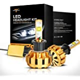 Auxbeam H3 LED Headlight Bulbs F-16 Series LED Headlights with 2Pcs Conversion Kits 60W 6000lm CREE LED Chips Fog Light (Pack of 2) - 1 Year Warranty